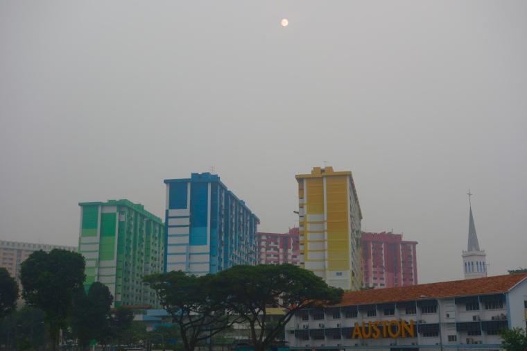 Rainbow flats, sunshine and haze.